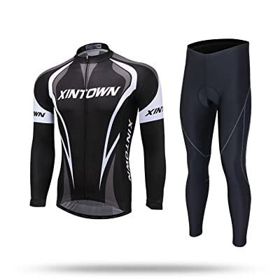 XINTOWN Automne Hiver Unisexe Respirant Quick Dry Léger Hommes confortables à manches longues + Combinaison longue tenue cycliste Ensemble d'équitation Sportswear