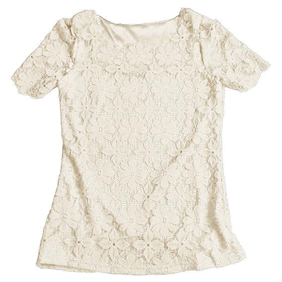 SODIAL Blusas de Mujer Camiseta de Estilo de Verano Ropa de Mujer Blusa de Encaje Casual
