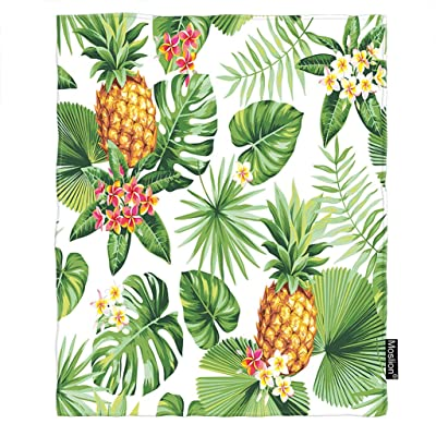 Moslion Leaf Blanket Hawaiian Pineapples Tropical Palm Leaves Flowers in Forest Jungle Throw Blanket Flannel Home Decorative Soft Cozy Blankets 60x80 Inch for Adults Kids Sofa Green Yellow: Home & Kitchen