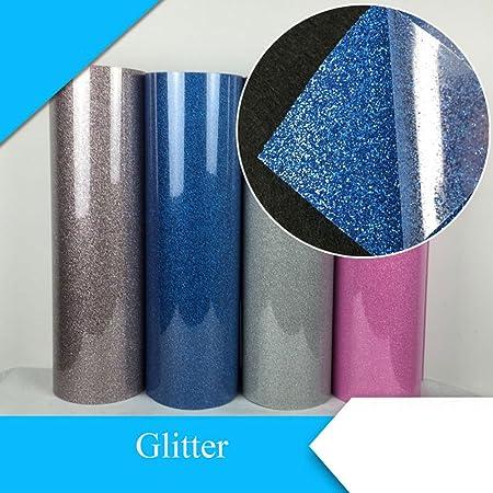 Glitter transferencia de calor de vinilo película calor prensa corte Plotter de Corte por DIY camiseta 50 cm * 100 cm (20 * 39 cm) plata: Amazon.es: Hogar