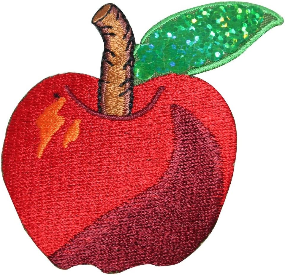 ID 1220Z Apple with Sequins Patch Summer Fruit Embroidered Iron On Applique