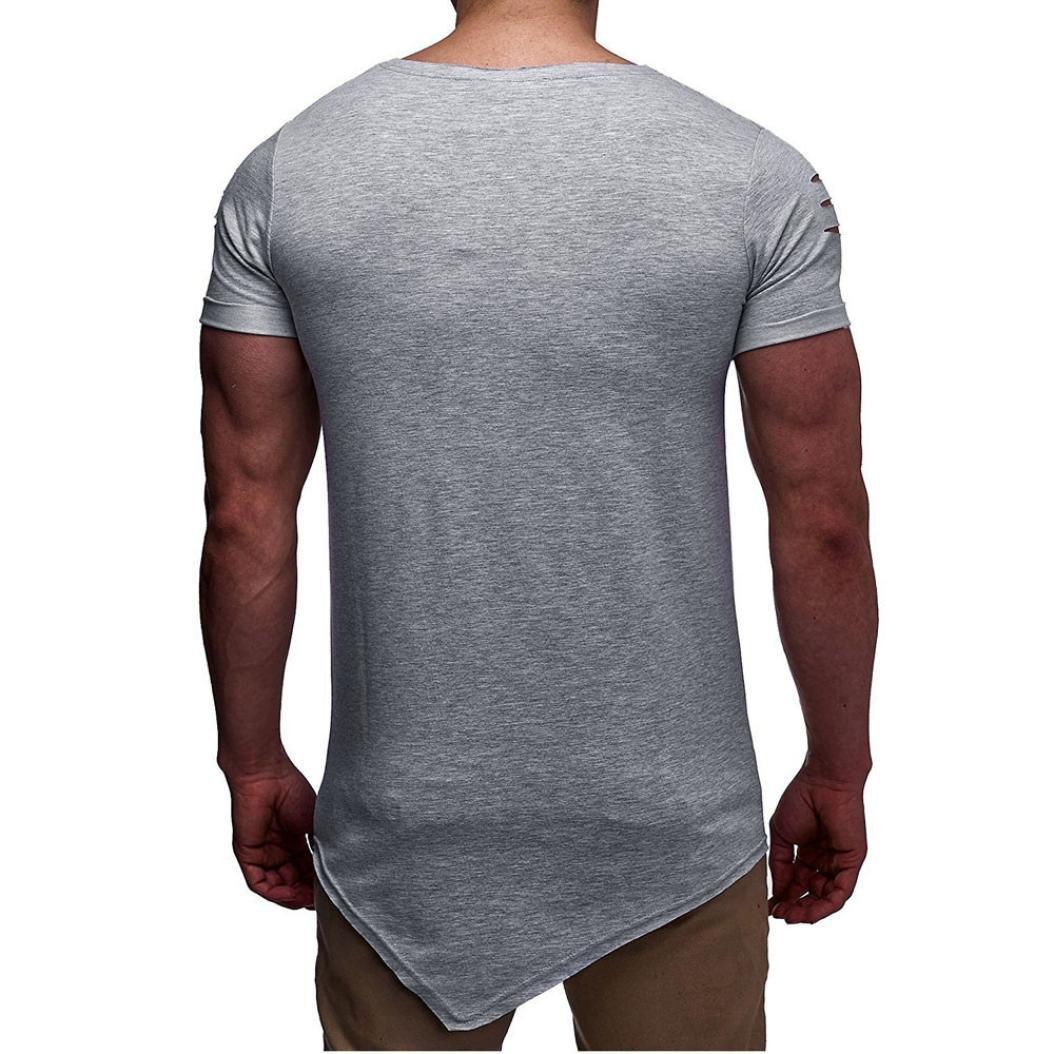 LuckyGirls Camisetas Hombre Originales Rotos Irregular Diseñar Verano  Personalidad Casual Remera Slim Polos Moda Manga Cortos Camisas 2ccc5e6d7d9b1