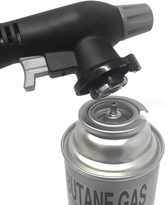 Mechero Bunsen, soplete, quemador de gas para camping, encendedor a gas, soplete de encendido piezoeléctrico + 4 x MS-1a. Cartucho de gas, con tamaño ...