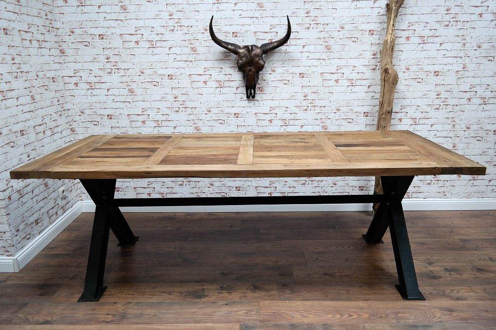 Massivholz Esstisch aus Metall im Industrie Design Shabby Chic Loft 230 cm