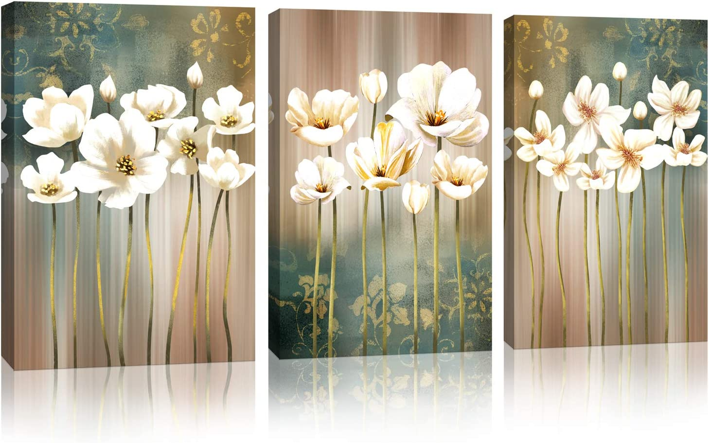 Amazon Com Modern Flower Artwork Canvas Wall Art Bathroom Wall Decor White Blossom Brown Green Abstract Flower Background Canvas Painting Prints Picture Bedroom Kitchen Home Decoration Size 12 X 16 X 3 Pieces Posters