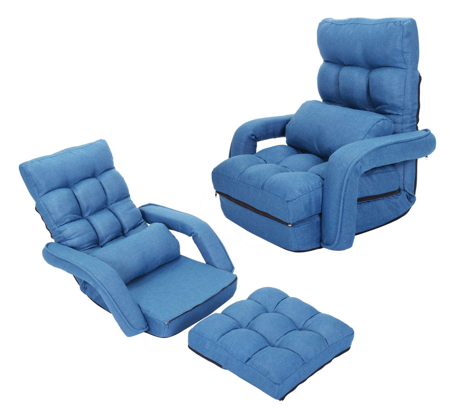 Folding Floor Sofa Reclining Recliner Game Chair w/ Armrest Lounge Sofa Couch Bedding   Blue