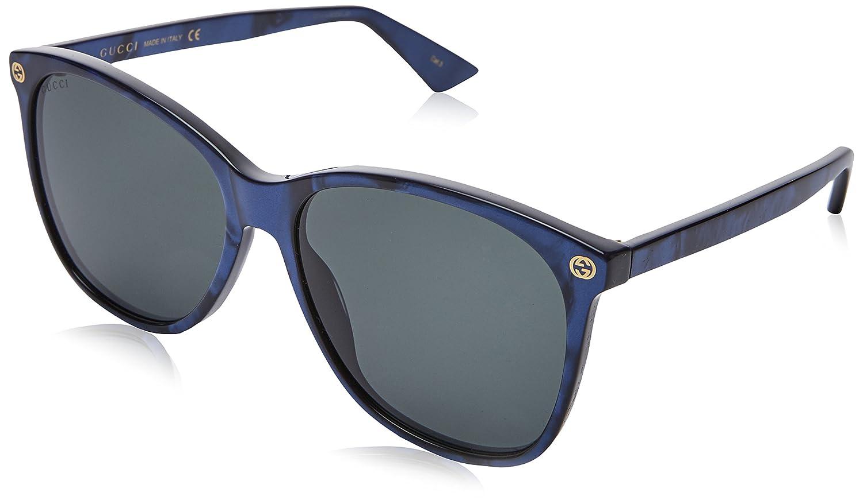 216081edb2 Amazon.com  Sunglasses Gucci GG 0024 S- 005 BLUE GREY  Clothing