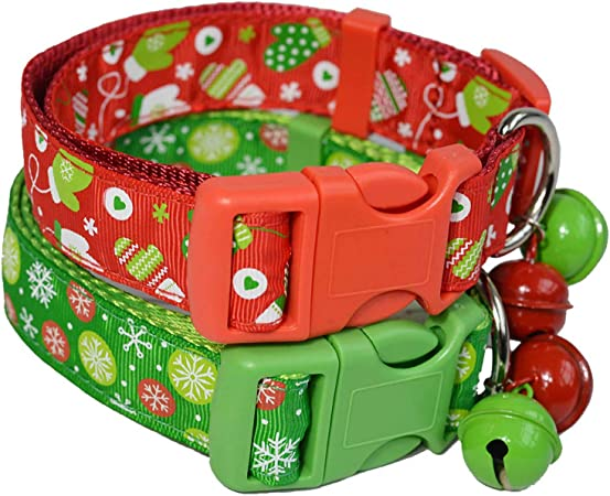 COLLAR CHRISTMAS CAT dog holiday collar red rattle santa claus anti-choke address tag adjustable from 23 cm to 33 cm