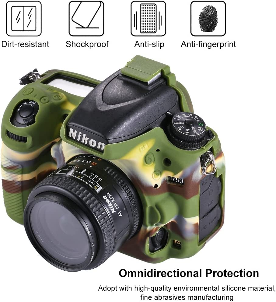 Soft Silicone Protective Case for Nikon D750 Durable Color : Color1