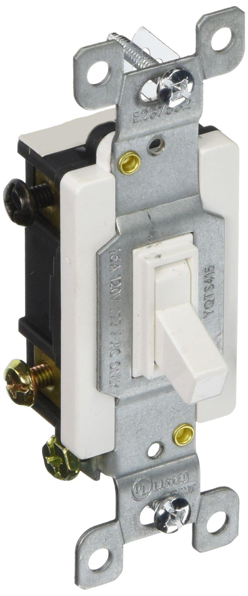 Morris 82041 Toggle Switch, 4 Way, 4 Poles, 120V/277V, 15 Amp Current, White