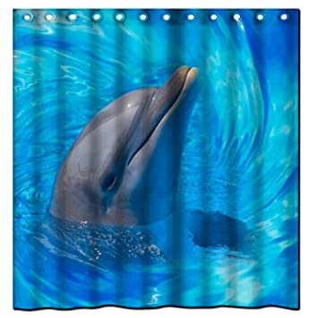 Cute Dolphin (19) Generic New Bathroom Decoration Waterproof Microfiber  Fabric Shower Curtain 66x72inch