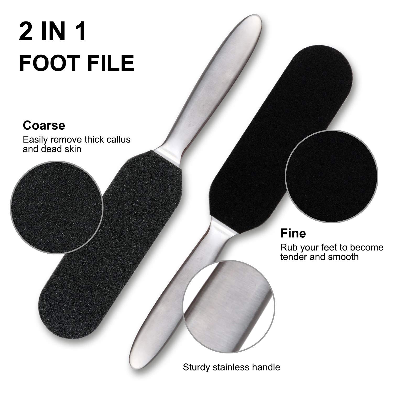 Callus Remover doppelseitige Edelstahl Hornhautraspel Hornhautentferner Füße Raspelfeilen Hornhautfeile mit 12 Extra-Minen für Hornhaut