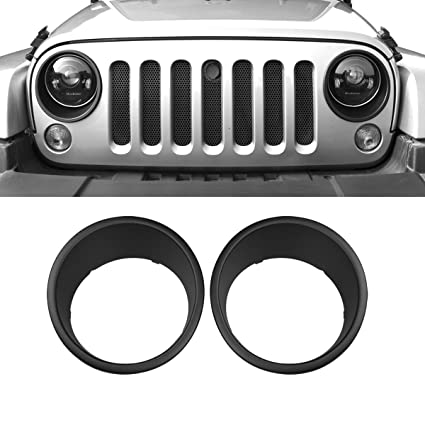 AMERICAN MODIFIED Front Black Lights Trim Covers Head Light Bezels  2007 2018 2u00264 Door Jeep