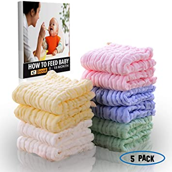 6-Pack DSDAI Baby Cotton Washcloths 6 Layer Soft Organic Muslin Burping Towel for Boys and Girls Newborn Babies Face Towel Perfect Gifts,12 x 12 Inches