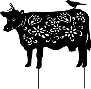 Garden Animal Metal Stakes - Cow Yard Art Decoration Lawn Ornaments Gifts Set