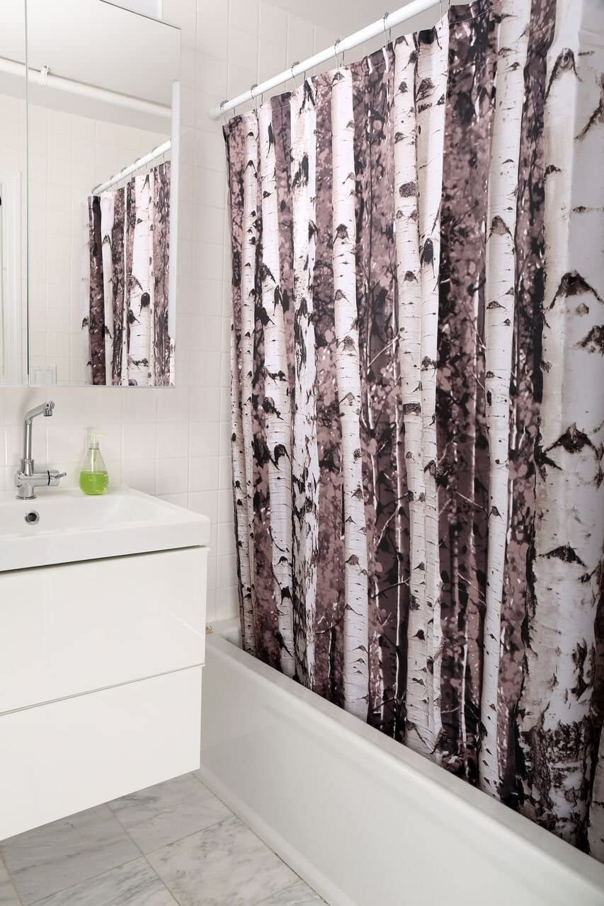 Kikkerland SHOWER CURTAIN BIRCH Tree Forest Polyester BATHROOM Gift