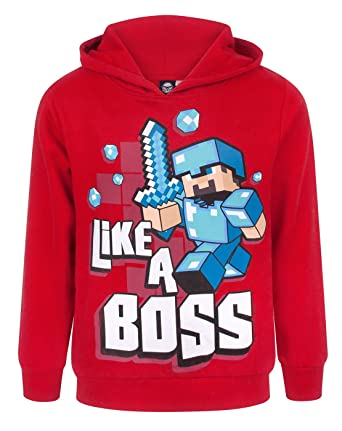 c9bf222cb04a Minecraft Official Like A Boss Boy s Hoodie  Amazon.co.uk  Clothing