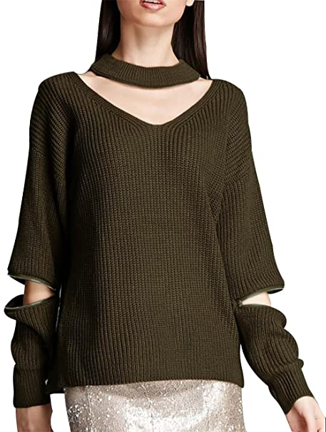641fbb94d4f TRENDY XU Women Autumn Fashion Long Sleeve V-neck Sweater Sexy Pullover  Knitted Tops at Amazon Women s Clothing store