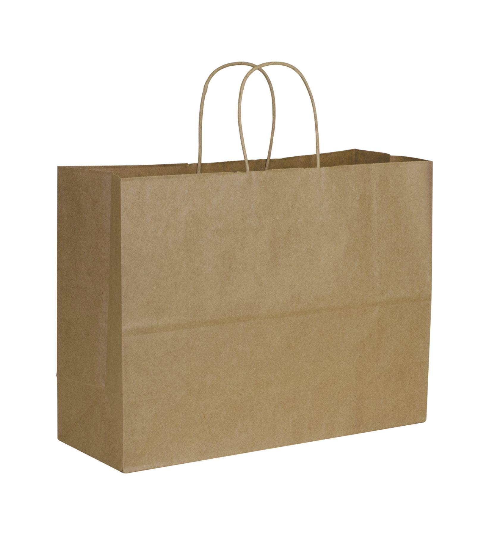 Solid Color Pattern Shopping Bags - Kraft Paper Shoppers Vogue, 16 x 6 x 12 1/2'' (250 Bags) - BOWS-29-8