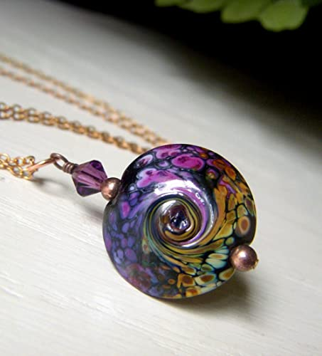 Amazon purple ocean wave pendant necklace glass raku lampwork purple ocean wave pendant necklace glass raku lampwork copper chain aloadofball Gallery