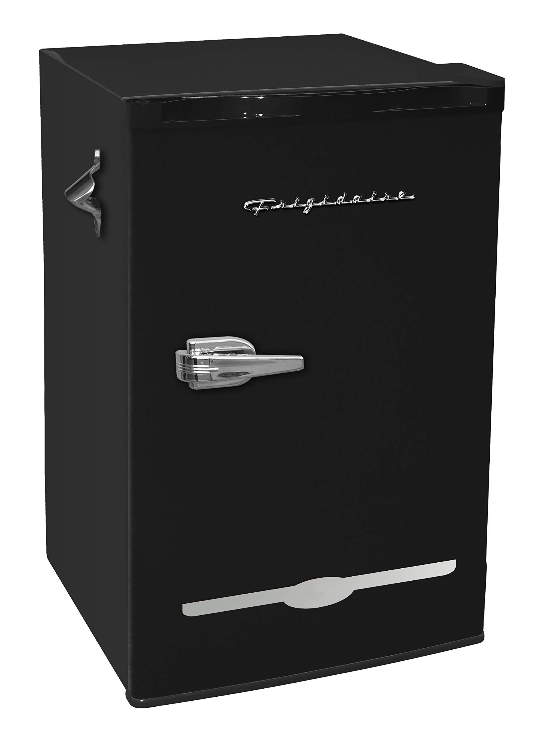 Frigidaire EFR376-BLACK 3.2 Cu Ft Black Retro Bar Fridge with Side Bottle Opener