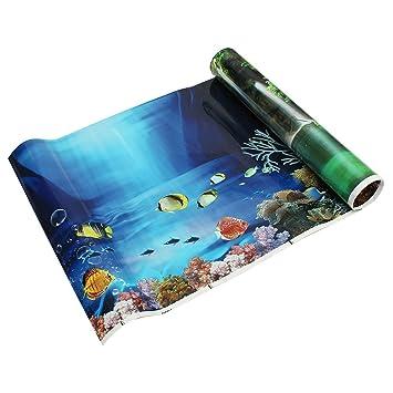 SODIAL(R) Fondo fresco del mar azul Poster de paisaje del oceano de acuario Fondo del tanque de pez: Amazon.es: Juguetes y juegos