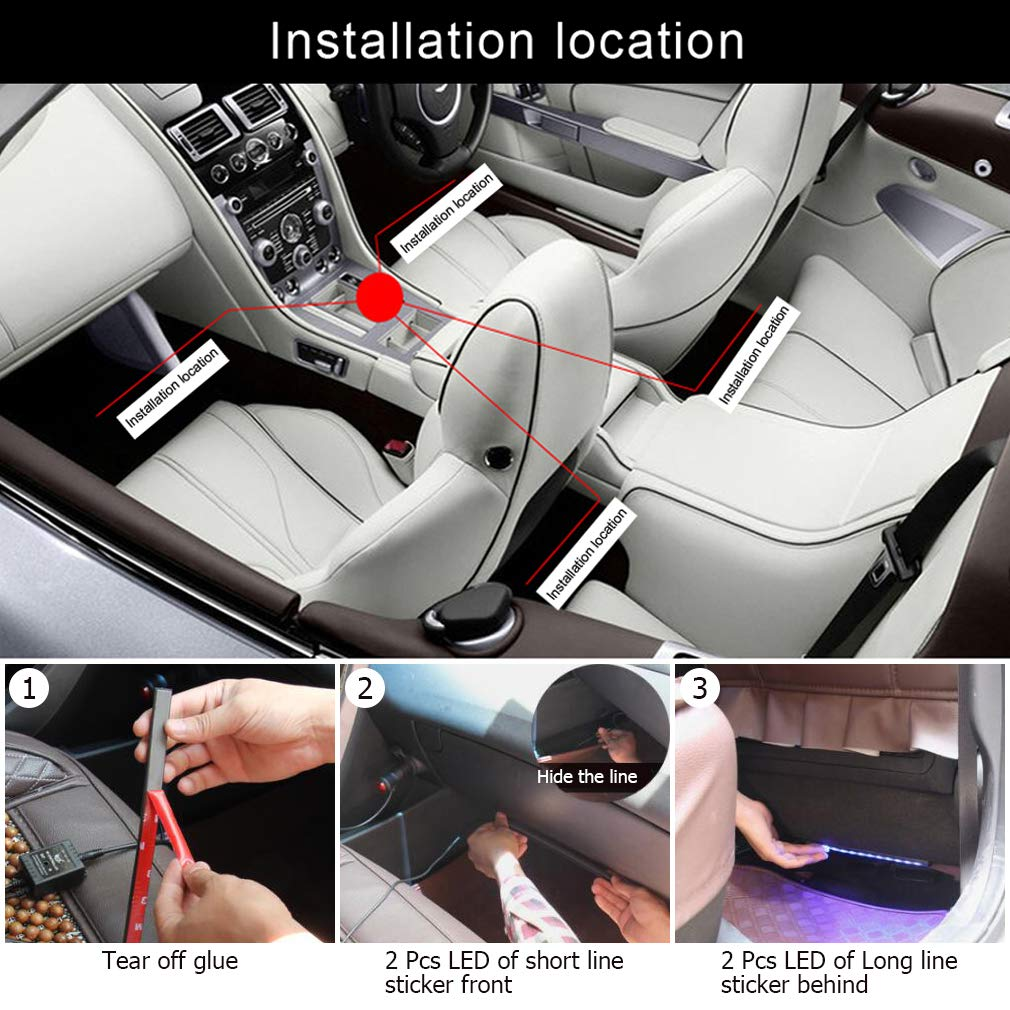 Car Interior Strip Light Floor Foot Under Dash Lighting Kit Auto Decoration Atmosphere Lamp Motor home indoor lights 4PCS 72LED Multicolor Color Bluetooth App Controller With Sound Active Function