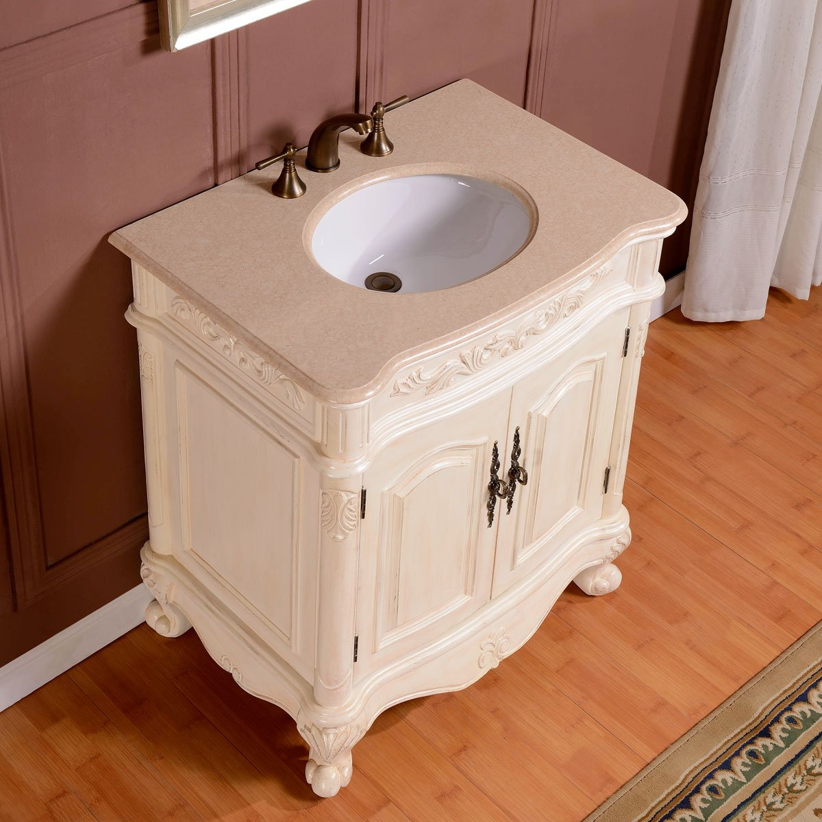 Silkroad Exclusive Inch Crema Marfil Marble Stone Top Bathroom - 33 inch bathroom vanity