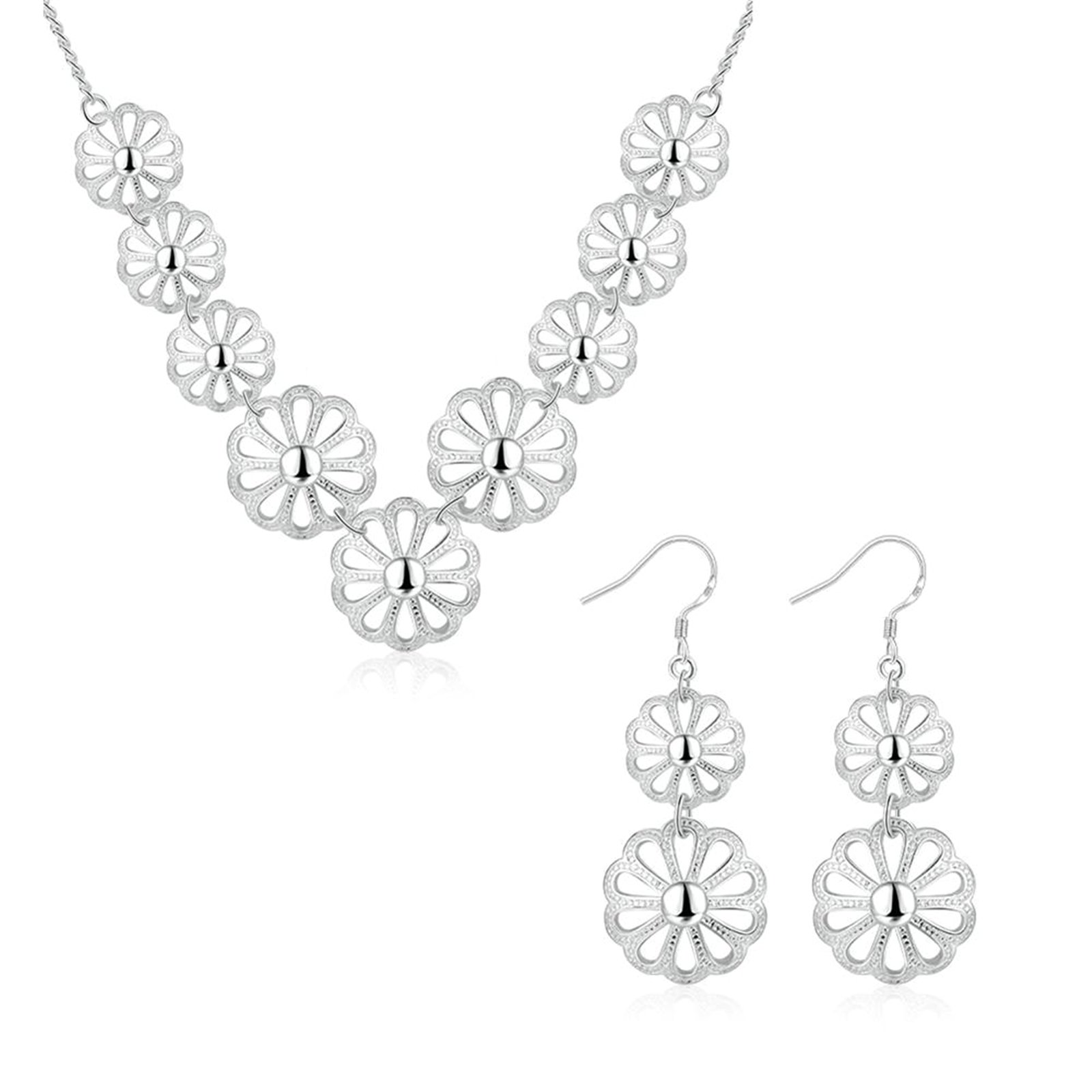 Gnzoe Fashion Jewelry Silver Plated Womens Necklace and Earring Set Hollow Flower Jewelry Set
