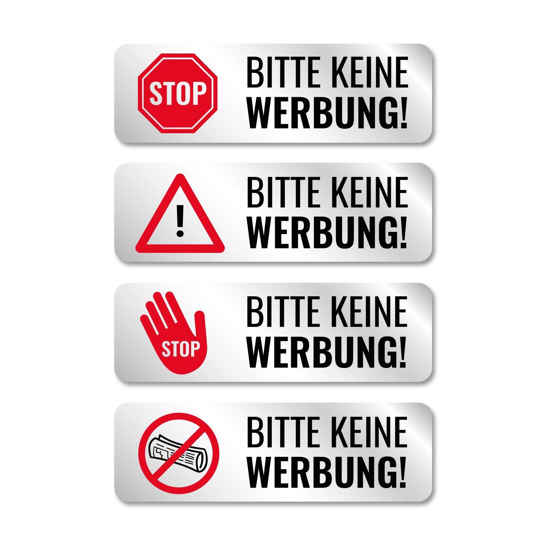 Bitte Keine Werbung Aufkleber fü r Briefkasten, Edelstahl-Optik, witterungsfest - 8 Stü ck - 4 Motive - Silber NBECOM