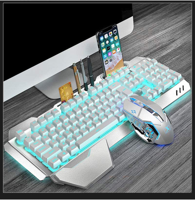 LLHAI Teclado mecánico y ratón, Teclado inalámbrico 2.4G Recargable Combo de ratón, Soporte para teléfono para Jugadores de PC,Blanco