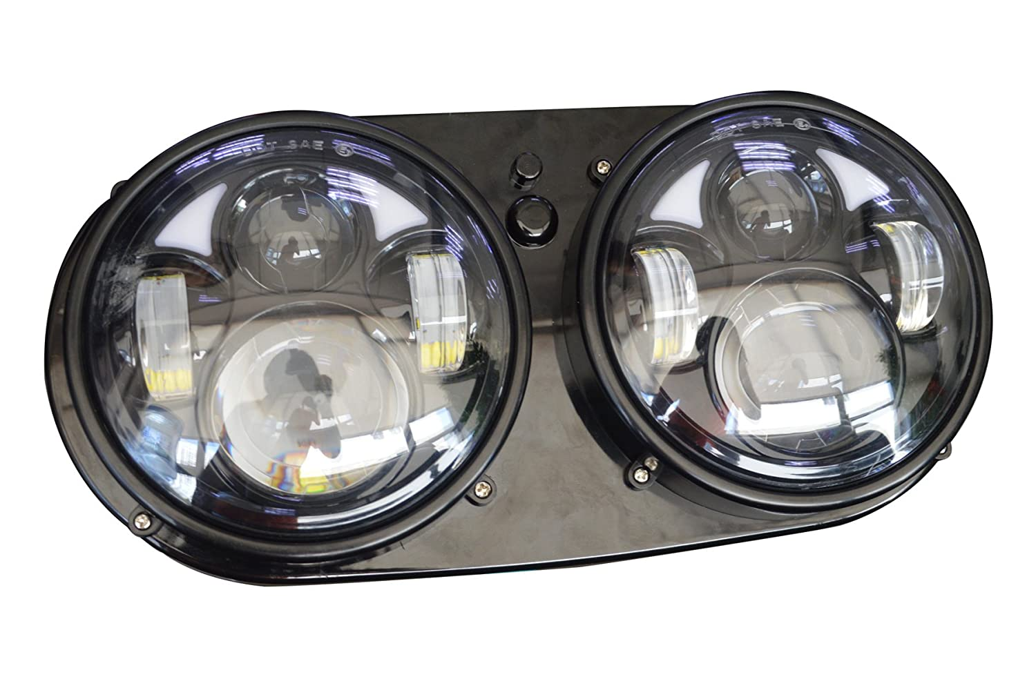 Motorcycle Headlight Assembly : Motorcycle dual led headlight daymaker assembly fit harley