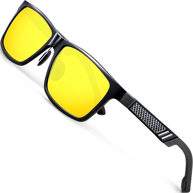 ATTCL Mens HD Night Vision Driving Glasses Sunglasses Al-Mg Metal Frame Ultra Light 6560 Yeshi