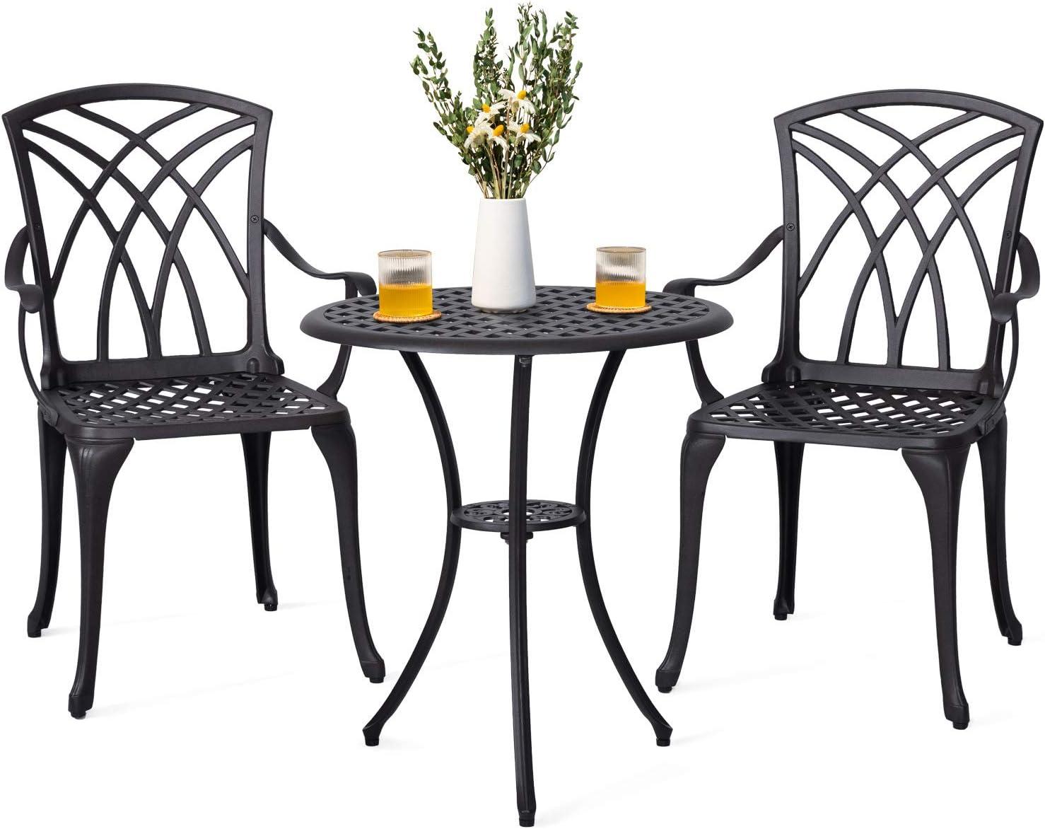 Nuu Garden 5 Piece Outdoor Bistro Set, Bistro Table Set with Umbrella Hole  for Patio – Cast Aluminum, Antique Bronze