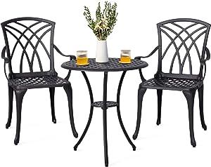 Nuu Garden 3 Piece Outdoor Bistro Set, Bistro Table Set with Umbrella Hole for Patio – Cast Aluminum, Antique Bronze