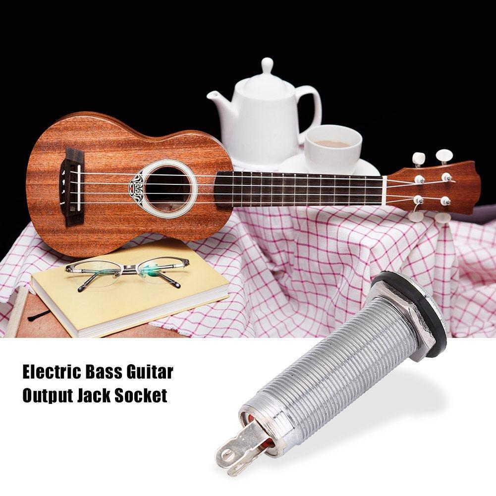 Dilwe Guitarra Jack Plug Socket, 1/4 Pulgadas Cilindro Roscado Conector de Enchufe de Salida Jack Plug para Eléctrica Guitarra Bajo(Plata): Amazon.es: ...