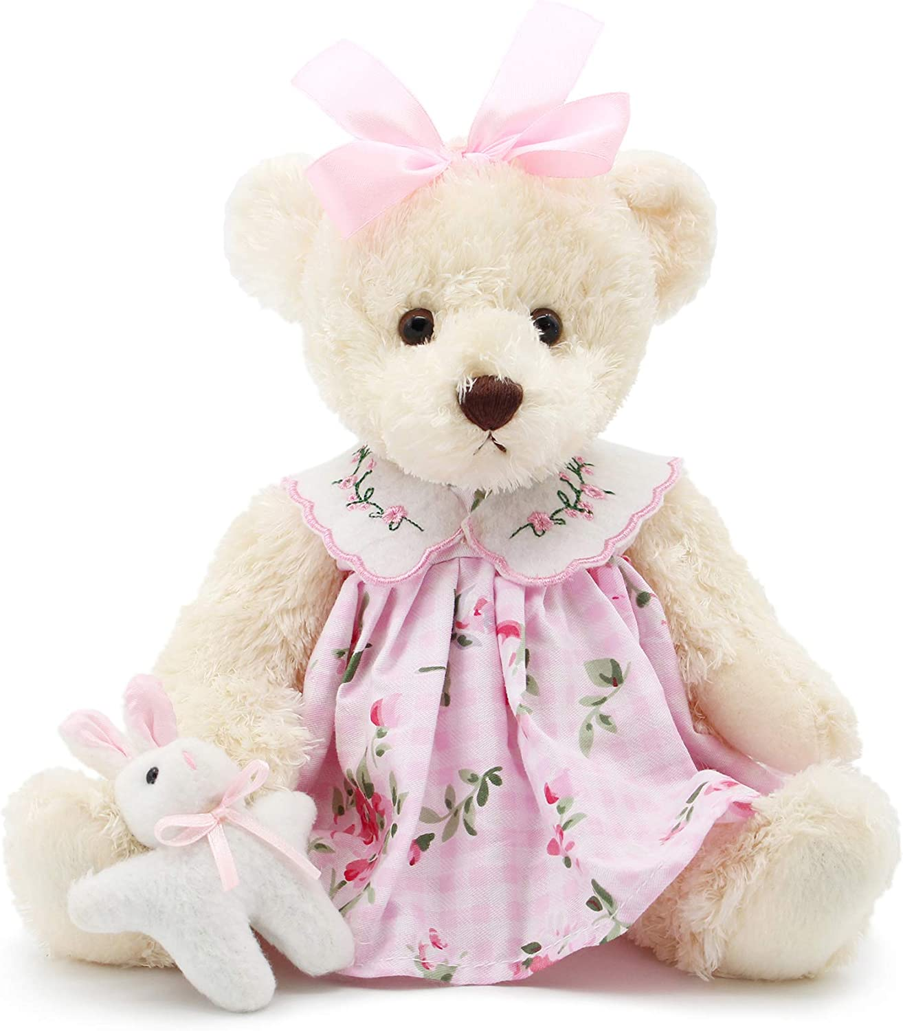 "Oitscute Small Baby Teddy Bear with Cloth Cute Stuffed Animal Soft Plush Toy 10"" (Pink Dress with Rabbit): Toys & Games"