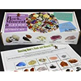 Rock & Mineral Collection Activity Kit (Over 150 Pcs) with Rock & Mineral book, Educational Identification Sheet plus 2 Easy Break Geodes, Fossilized Shark Teeth and Arrowheads, Dancing Bear Brand