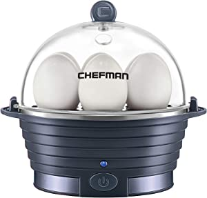 Chefman Electric Egg Cooker Boiler, Rapid Poacher, Food & Vegetable Steamer Quickly Makes Up To 6, Hard, Medium or Soft Boiled, Poaching/Omelet Tray Included, Ready Signal, BPA-Free, Midnight Blue