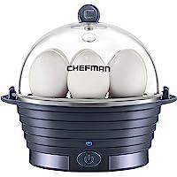 Chefman Electric Egg Cooker Boiler, Rapid Egg-Maker & Poacher, Food & Vegetable Steamer, Quickly Makes 6 Eggs, Hard…