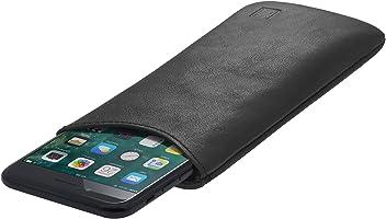 StilGut Pouch Custodia Smartphone Sleeve in Morbida Pelle di Nappa Misura L, Nero Nappa | Compatibile tra Gli Altri con Samsung Galaxy S7, Samsung S6 Edge ECC.