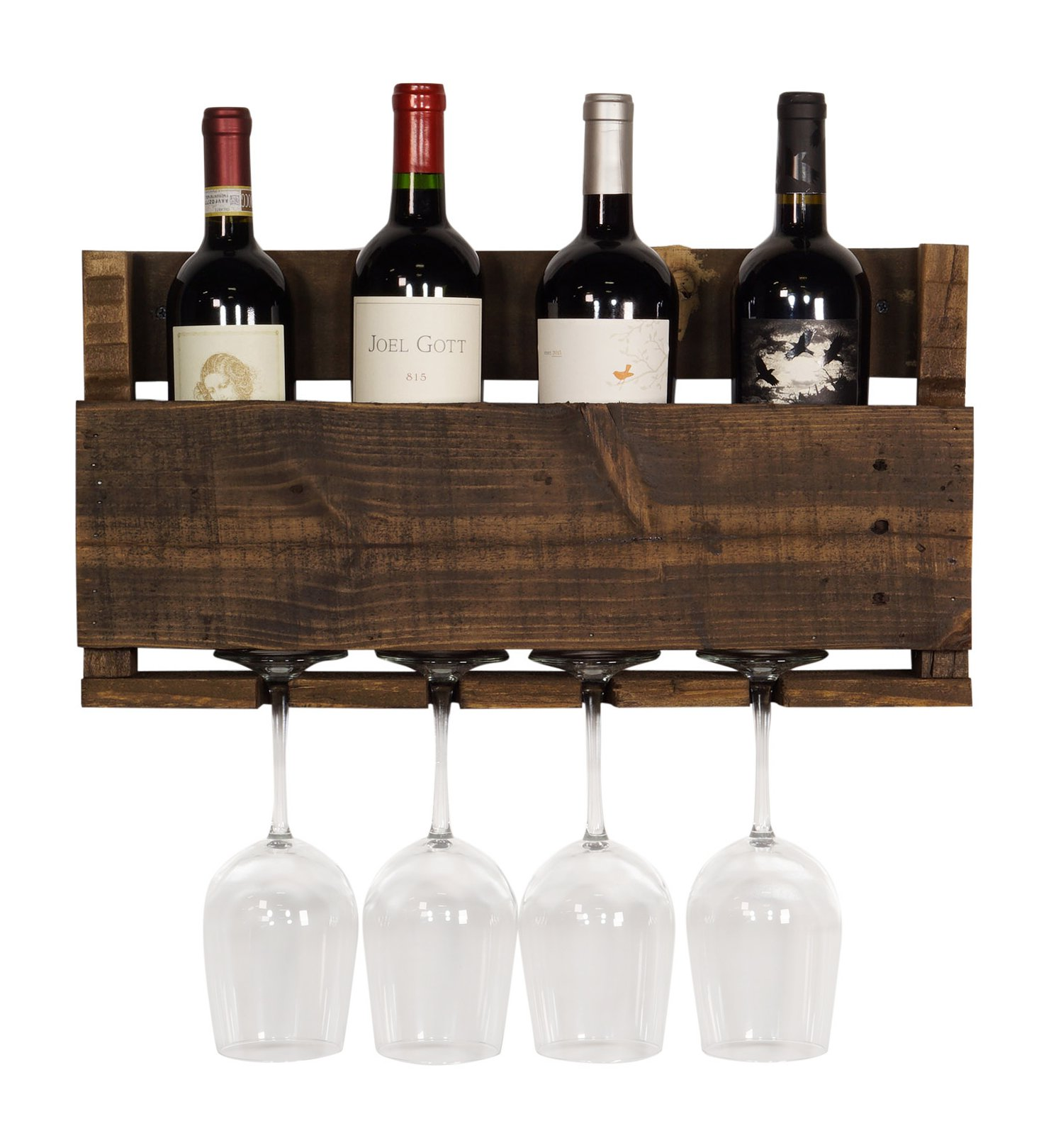 del Hutson Designs  - The Little Elm Wine Rack, USA Handmade Reclaimed Wood, Wall Mounted, 4 Bottle 4 Long Stem Glass Holder (Ebony) by del Hutson Designs