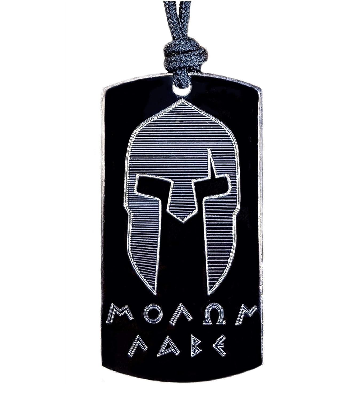 Real Bullet Design Dog-Tag Schwarz Molon Labe Spartaner Helm mit Paracord Halsschnur