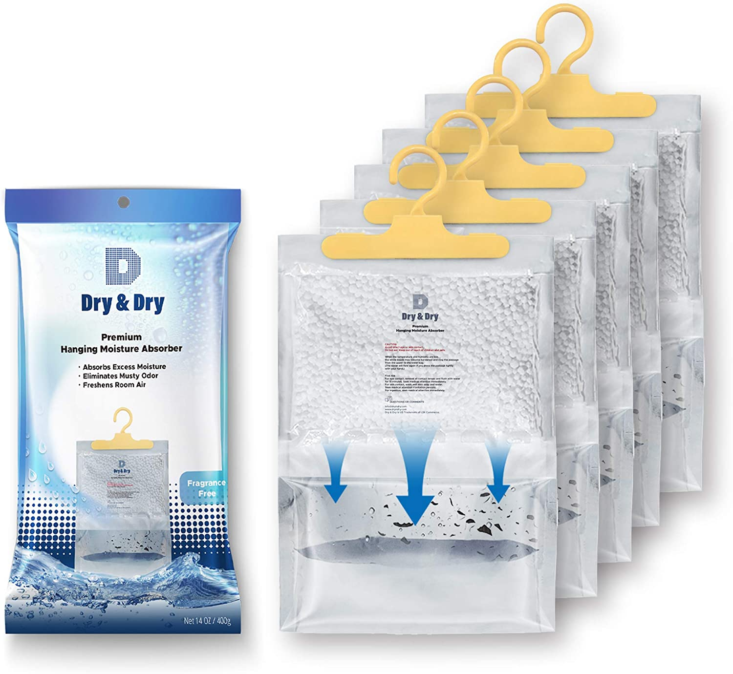 Dry & Dry 5 Packs [Net 14 Oz/Pack] Premium Hanging Moisture Absorber to Control Excess Moisture for Basements, Closets, Bathrooms, Laundry Rooms. - Ultra Strong Moisture Absorber