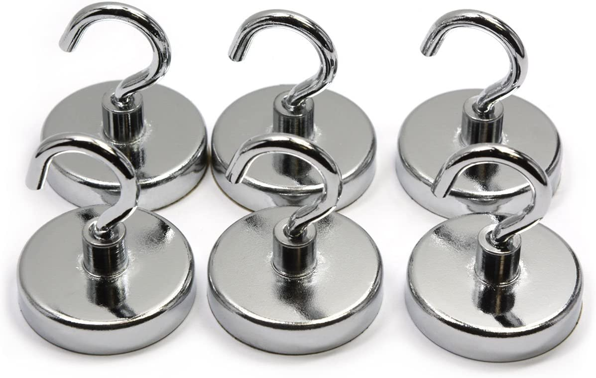 "6 Pieces of 18 Pound Holding Power Magnetic Hooks, CMS Magnetics 1.26"" in Diameter Silver Color"