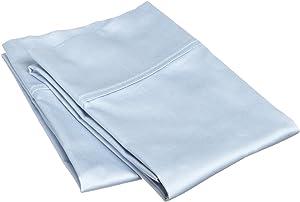 SUPERIOR 800 Thread Count 100% Egyptian Cotton 2 Piece Pillowcase Set, Light Blue, King