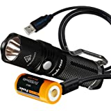 Fenix PD25 550 Lumens CREE XP-L LED Pocket Flashlight with Fenix Rechargeable Battery (Built-In USB Charging Port) and…