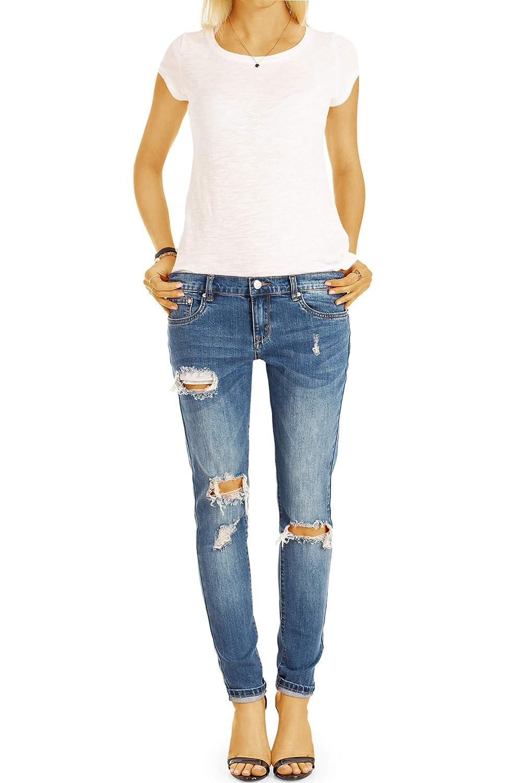 161243da010a bestyled Damen Jeans, Hüftjeans zerrissene Destroyed Used-Optik ...
