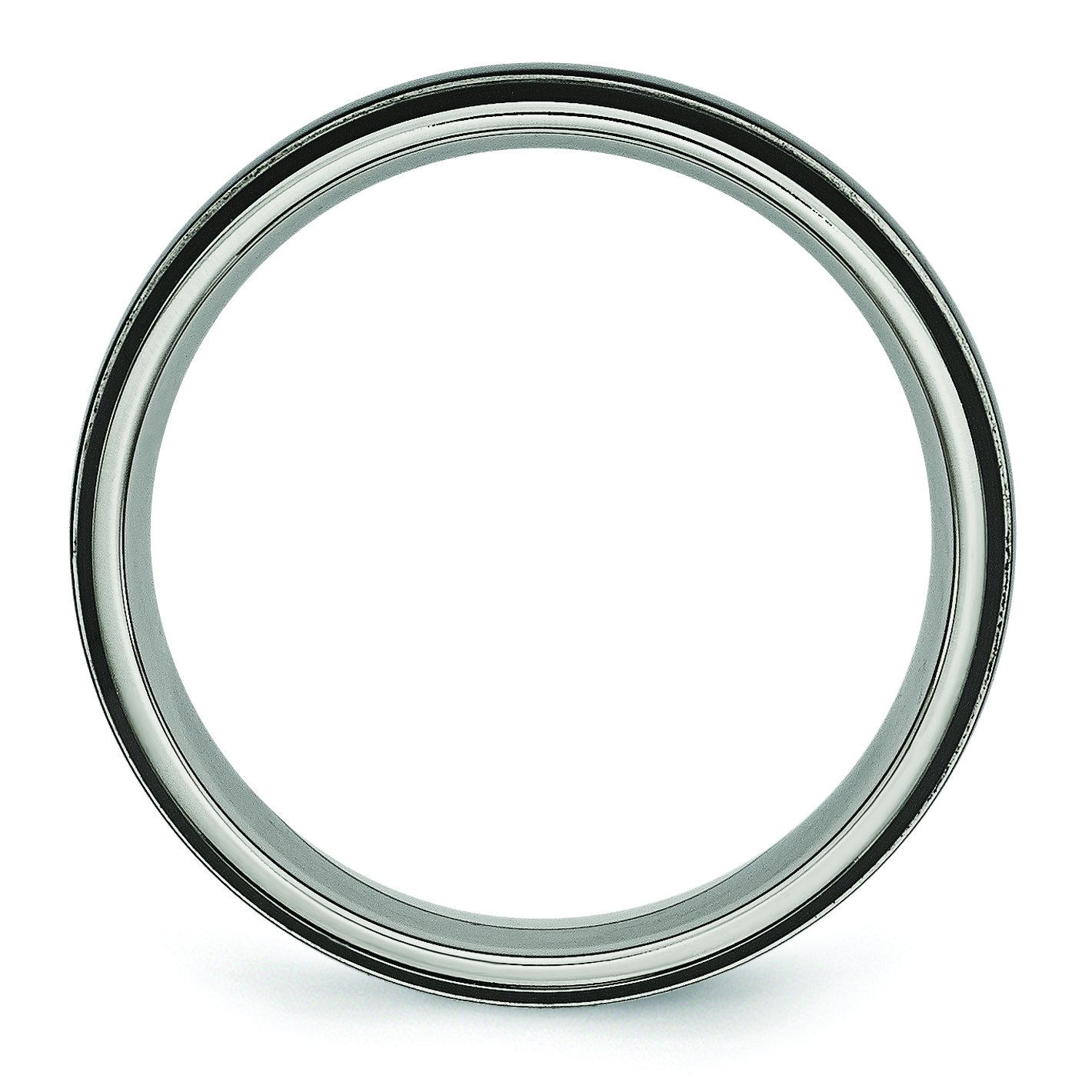 Jewelry Pot Titanium Grooved 6mm Black-Plated Brushed /& Polished Engravable Band