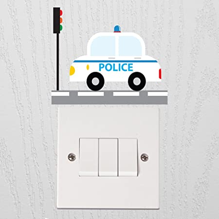 Vu0026C Designs ™ Police Car Light Switch Wall Sticker Kids Room Childrenu0027s  Wall Sticker Wall Quote